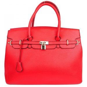 Handbags - Red Fashion Inspired Tote Bag Faux Leather